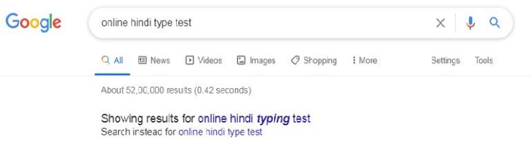 online spelling mistake google search