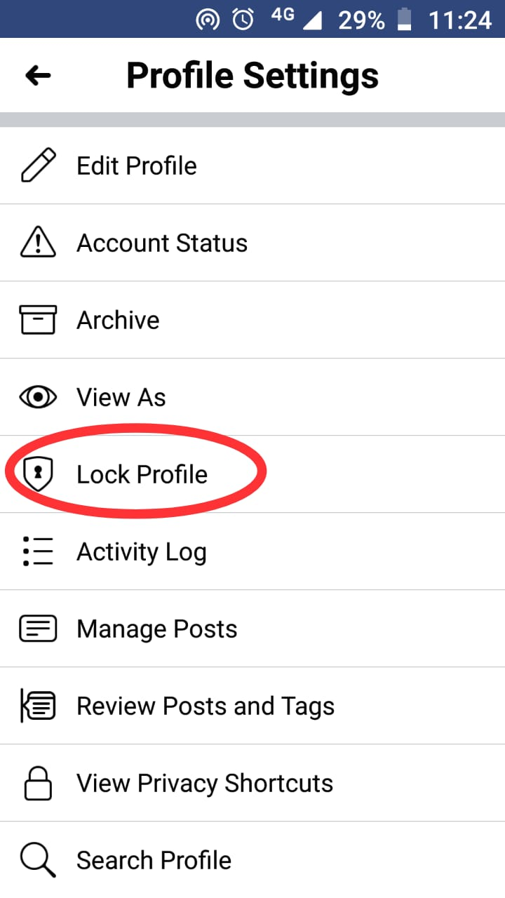 How to lock facebook profile step 3