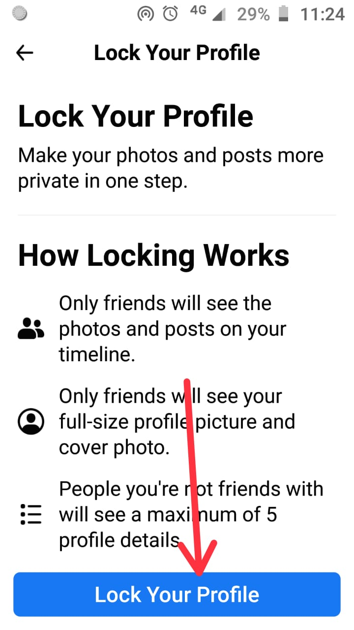 How to lock facebook profile step 4